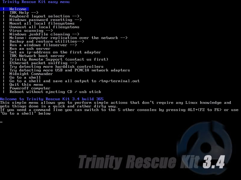 Trinity Rescue Kit- resetting windows password