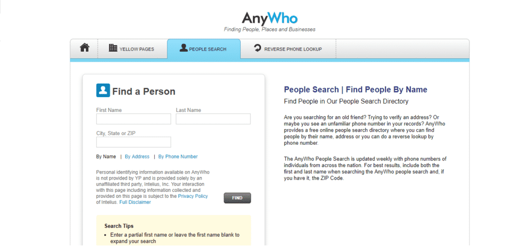 AnyWho- us-based people search website
