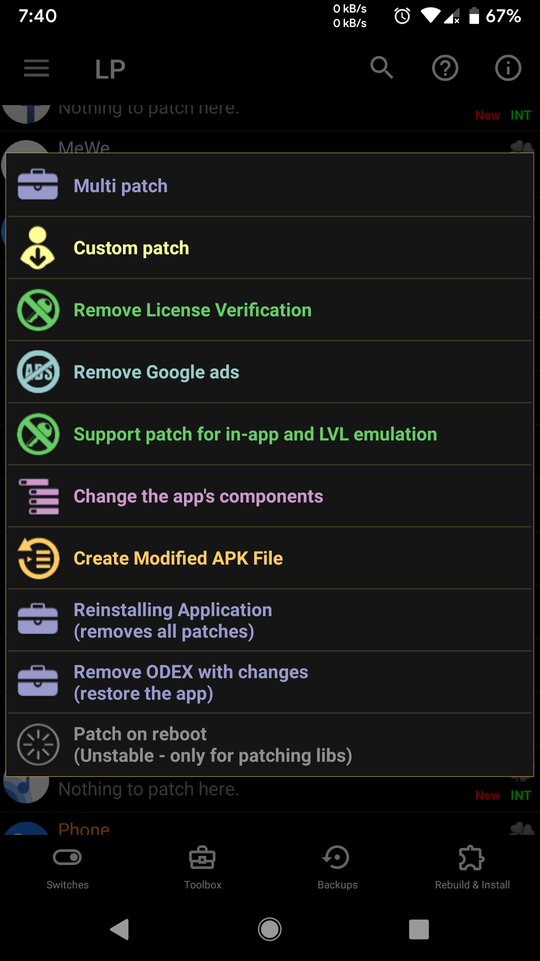 Options to Hack Android app using Lucky Patcher