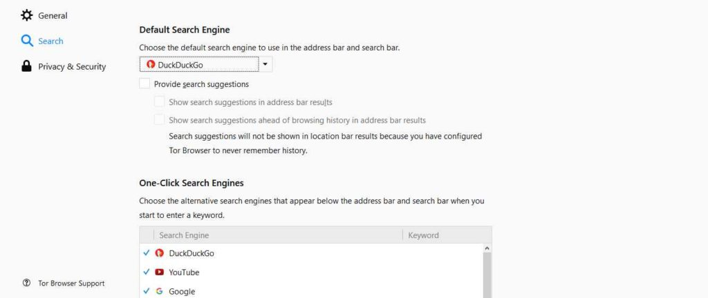 Default Search Engines